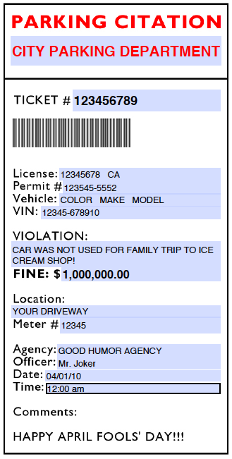 Effortless image within fake parking ticket printable