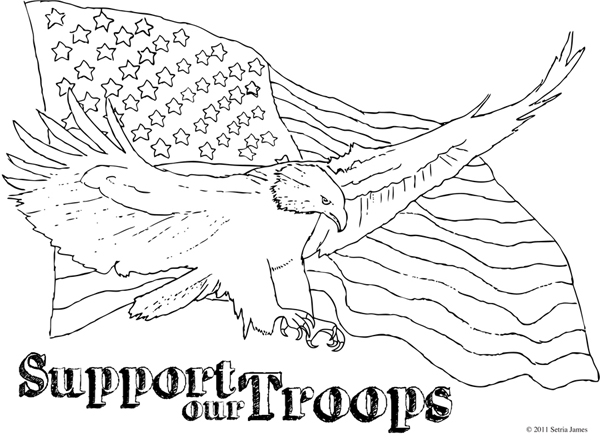 coloring pages eagle with flag - photo#26