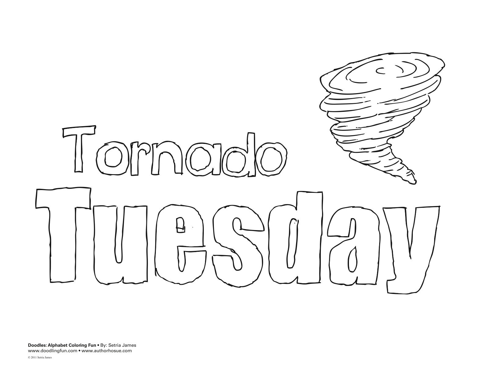 Coloring book page of a tornado - Coloring Pages Days Of The Week Allcolored