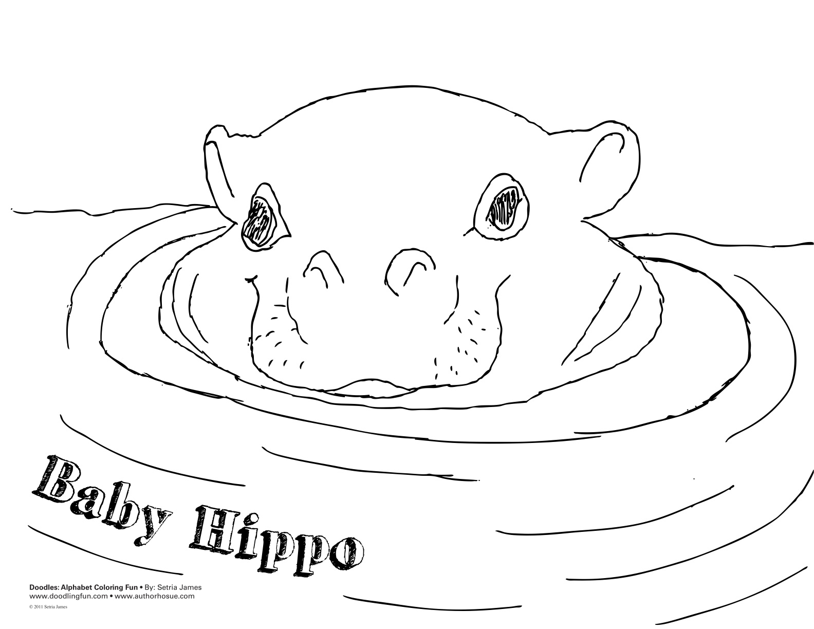 Colouring in pages hippo