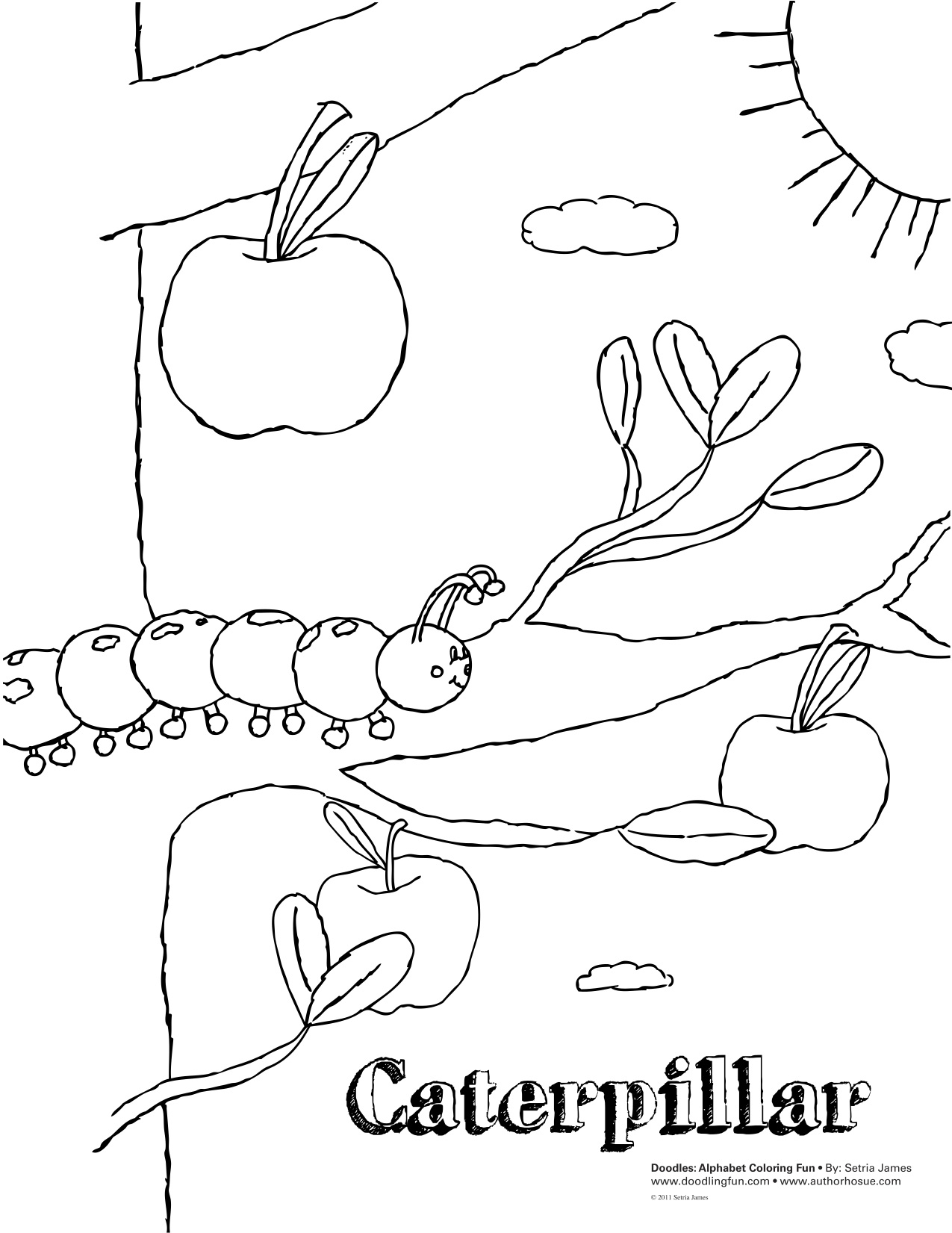 free tiny caterpillar coloring pages