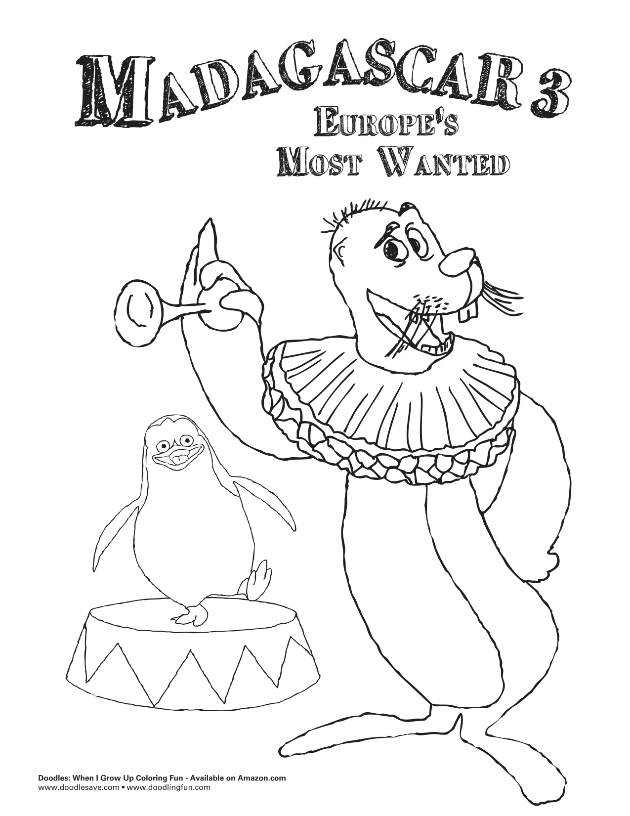 madagascar 3 circus coloring pages - photo#12