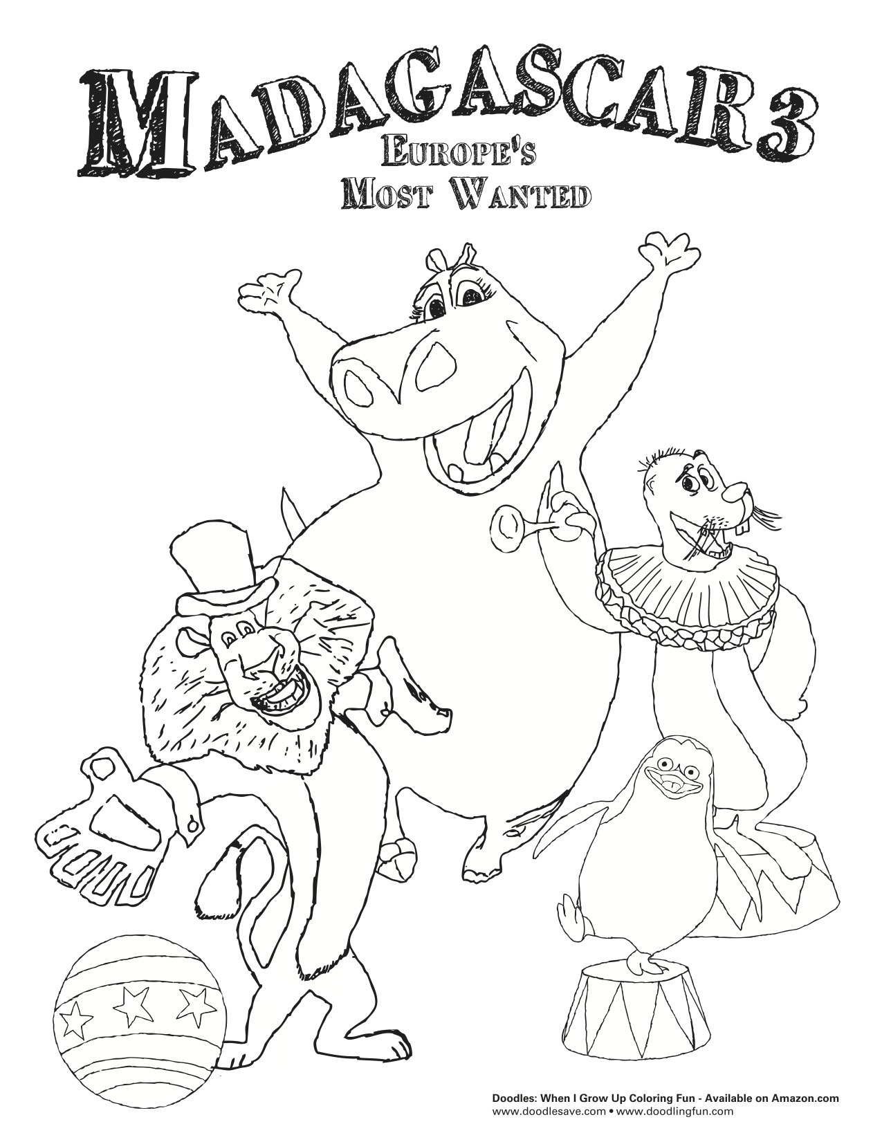 madagascar 3 marty coloring pages - photo#15