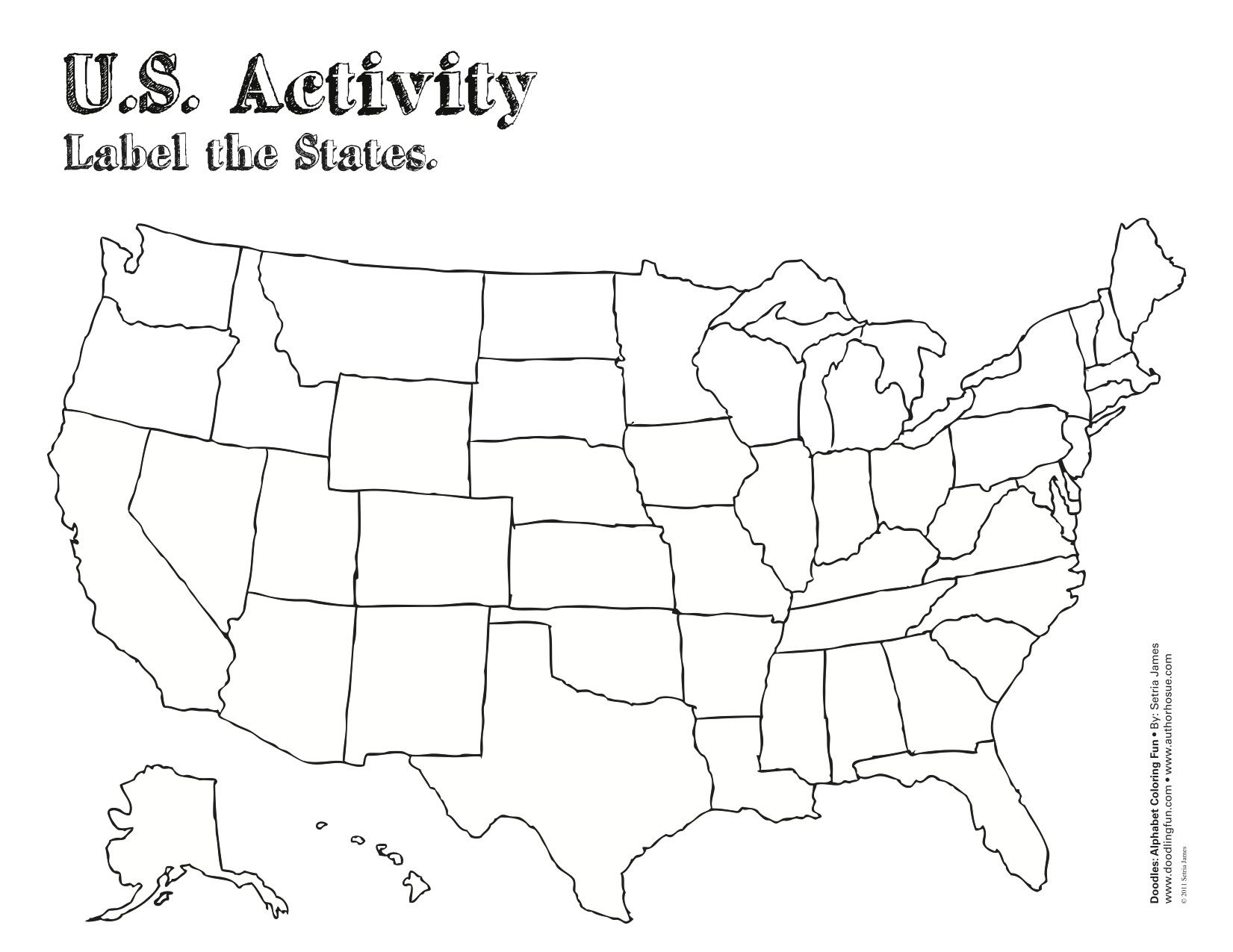 Blank Page Of The United States - Coloring page us map