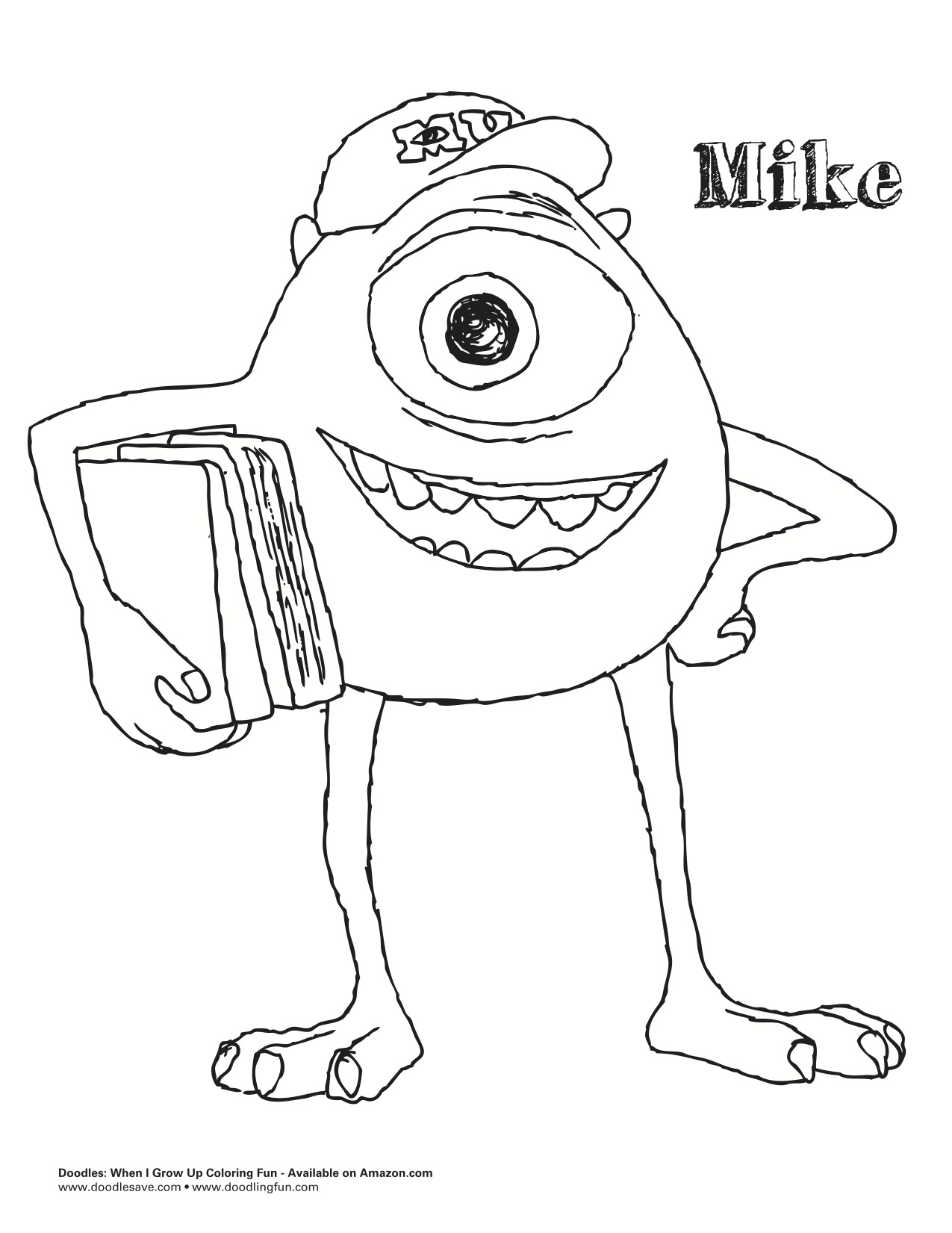 monsters university mike coloring pages - photo#4