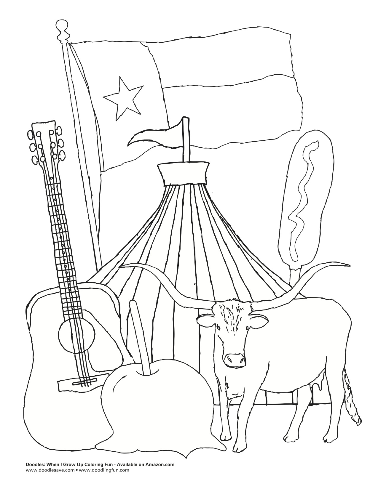 state of texas coloring page - the state fair of texas doodles ave