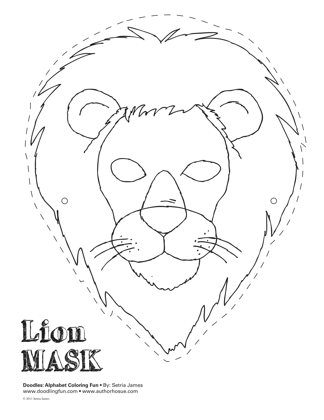 lion mask coloring page lion face mask template