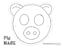 Clean image with printable pig masks