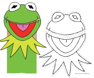 Muppet puppet craft doodles ave for Frog finger puppet template