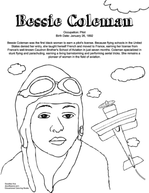 George Washington Carver Coloring Page Doodles Ave Bessie Coleman Coloring Page