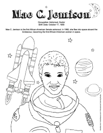 mae jemison coloring page - black history coloring sheets doodles ave