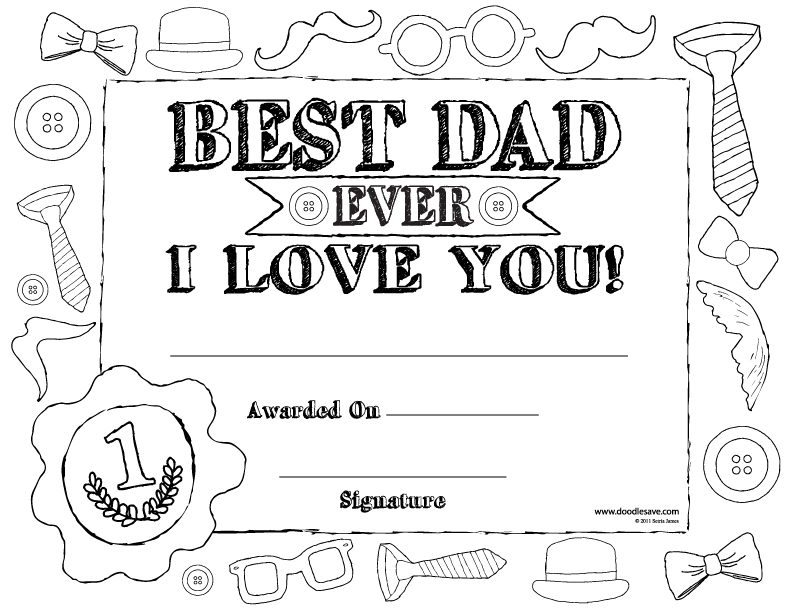 Fathers Day Coloring Pages Certificate - fathers day certificate ...